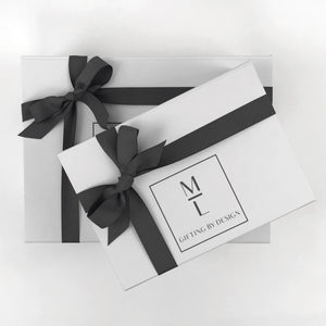 mint-lavender white gift box with gray ribbon