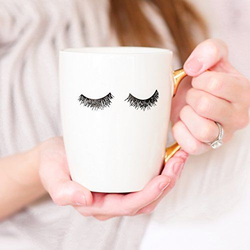 HAND-PAINTED EYELASH COFFEE MUG