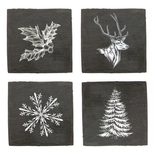 TWINE RUSTIC HOLIDAY ASSORTED SLATE COASTERS
