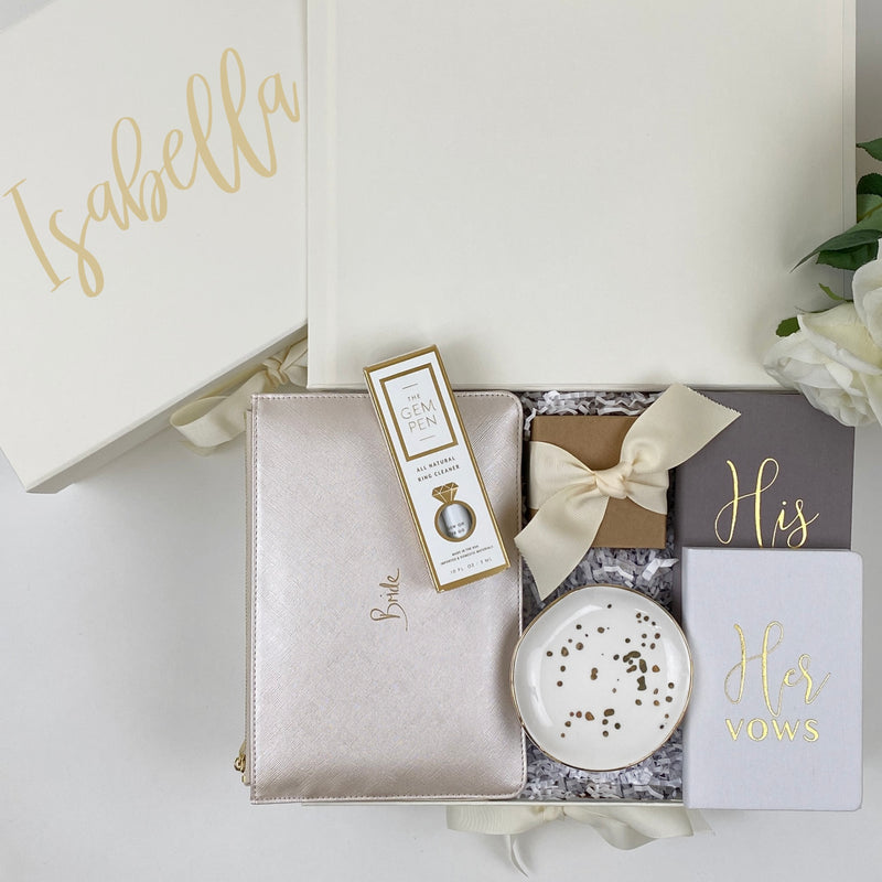the mrs. gem pen, mint-lavender personalized ivory bridal gift box