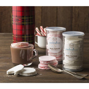 hot cocoa with creekside mallow co. peppermint and vanilla marshmallow toppers