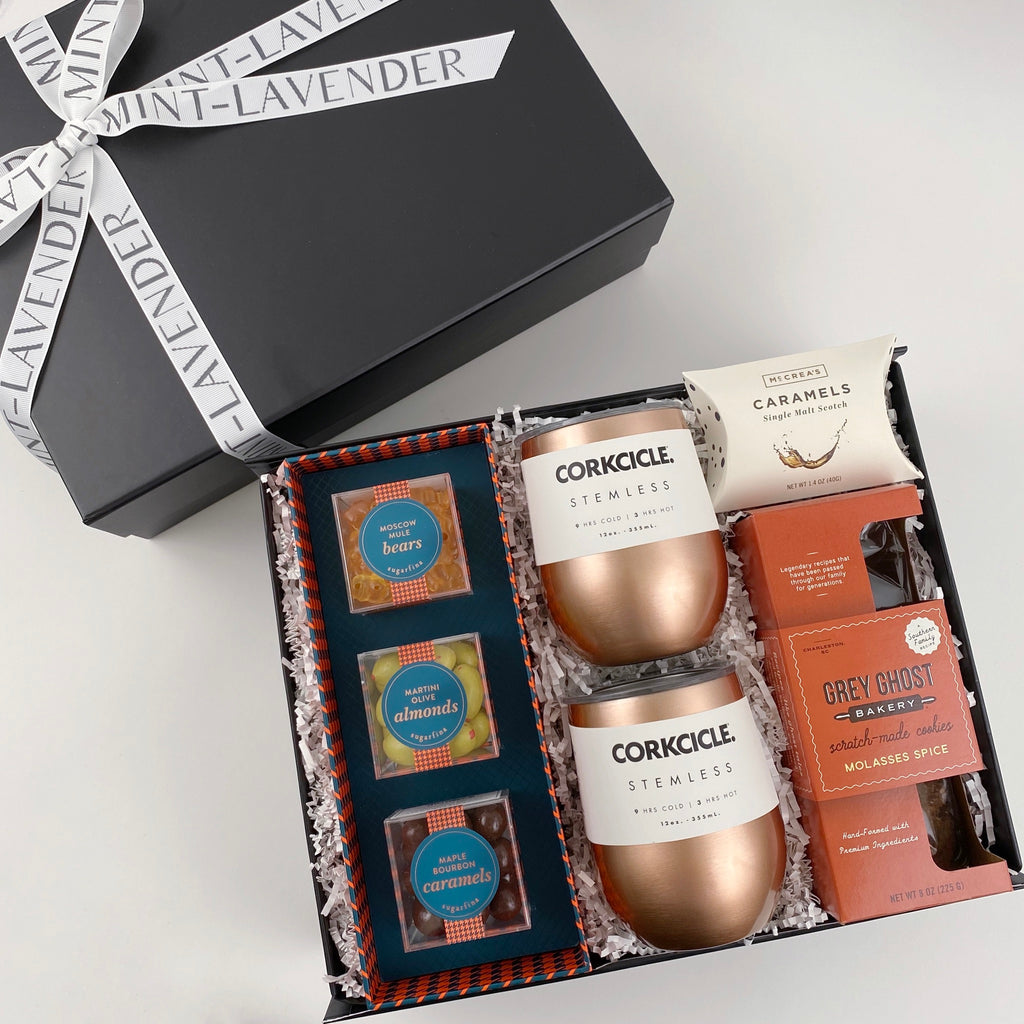 corkcicle copper wine tumblers, sugarfina bourbon caramels