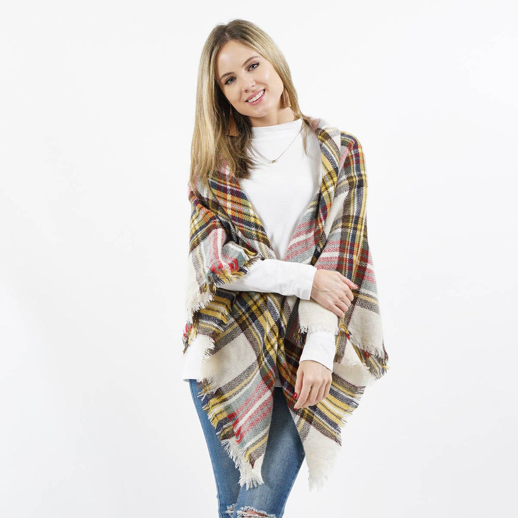 MULTI-PLAID BLANKET SCARF