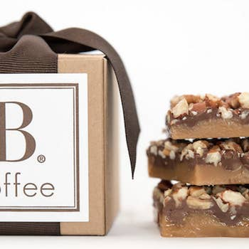 CHOCOLATE TOFFEE WITH ROASTED PECANS - DARK BROWN RIBBON