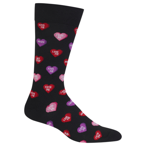 HOT SOX CANDY HEARTS VALENTINE CREW SOCKS - FOR HIM