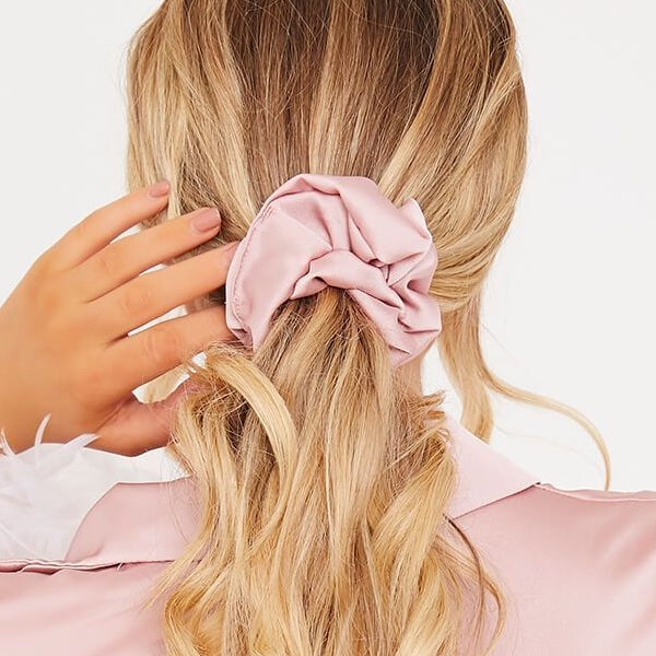 OVERSIZED PINK SATIN SCRUNCHIE