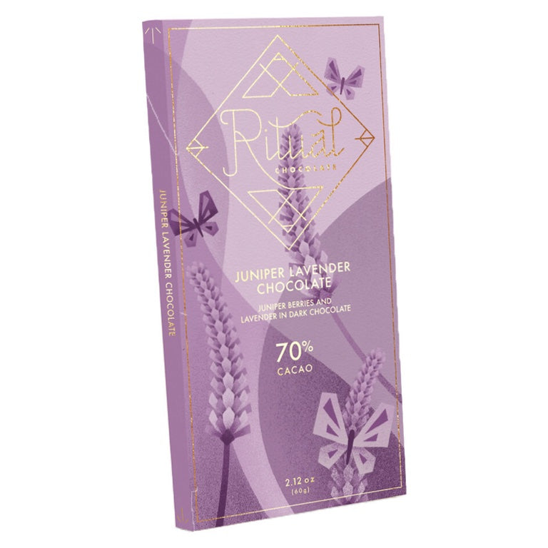 JUNIPER LAVENDER CHOCOLATE BAR - 70% CACAO