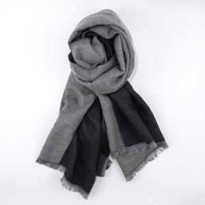 mint-lavender black and gray silk and cashmere scarf blanket