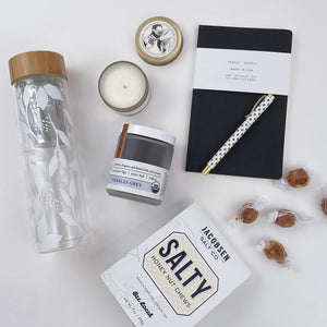 Brooklyn candle studio Sunday morning travel candle, public supply black notebook