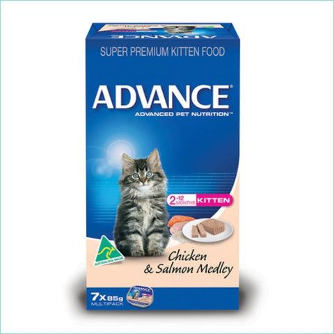 Advance Cat Kitten Chicken And Salmon Box Of 7 - Cat Food