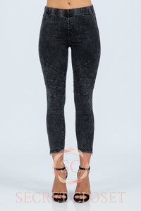 Acid Wash Mid Rise Legging Clothing