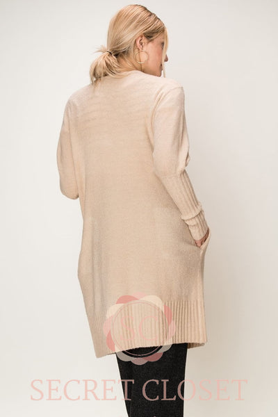 Balloon Sleeve Open Long Cardigan Clothing