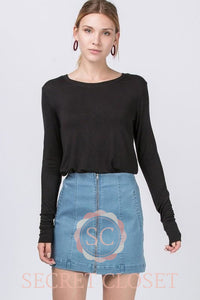 Basic| Long Sleeve Black Top Clothing