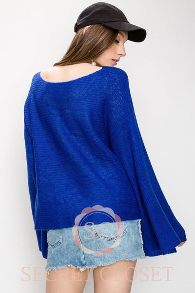 Bell Sleeve Crop Sweater Clothing