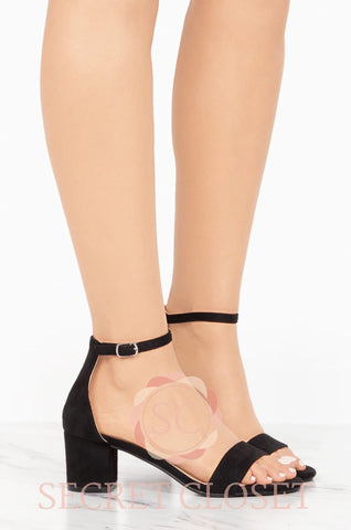 Black Velvet Low-Block Heel Accessory