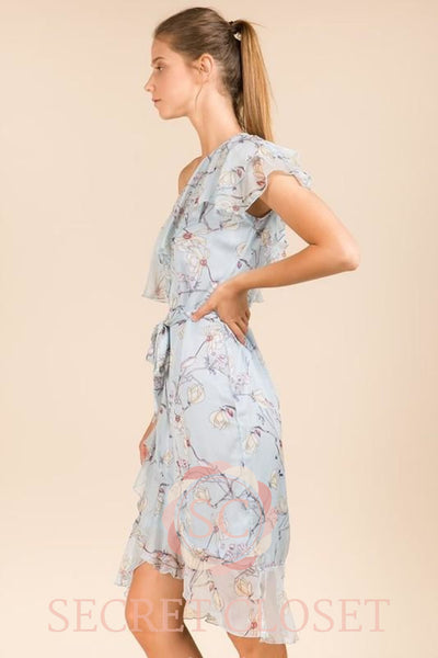 Blue Floral One Shoulder Layered Dress Clothing