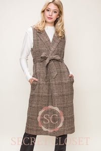 Brown Plaid Coat Vest With Waist Tie Clothing