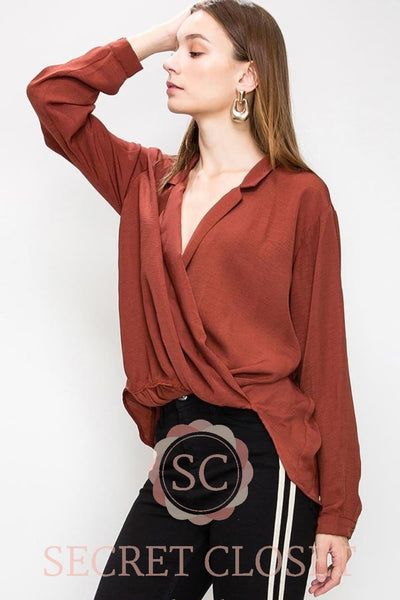 Brown Surplice Blouse Clothing