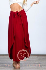 Burgundy Front Tie Ruffle Maxi Skirt Clothing