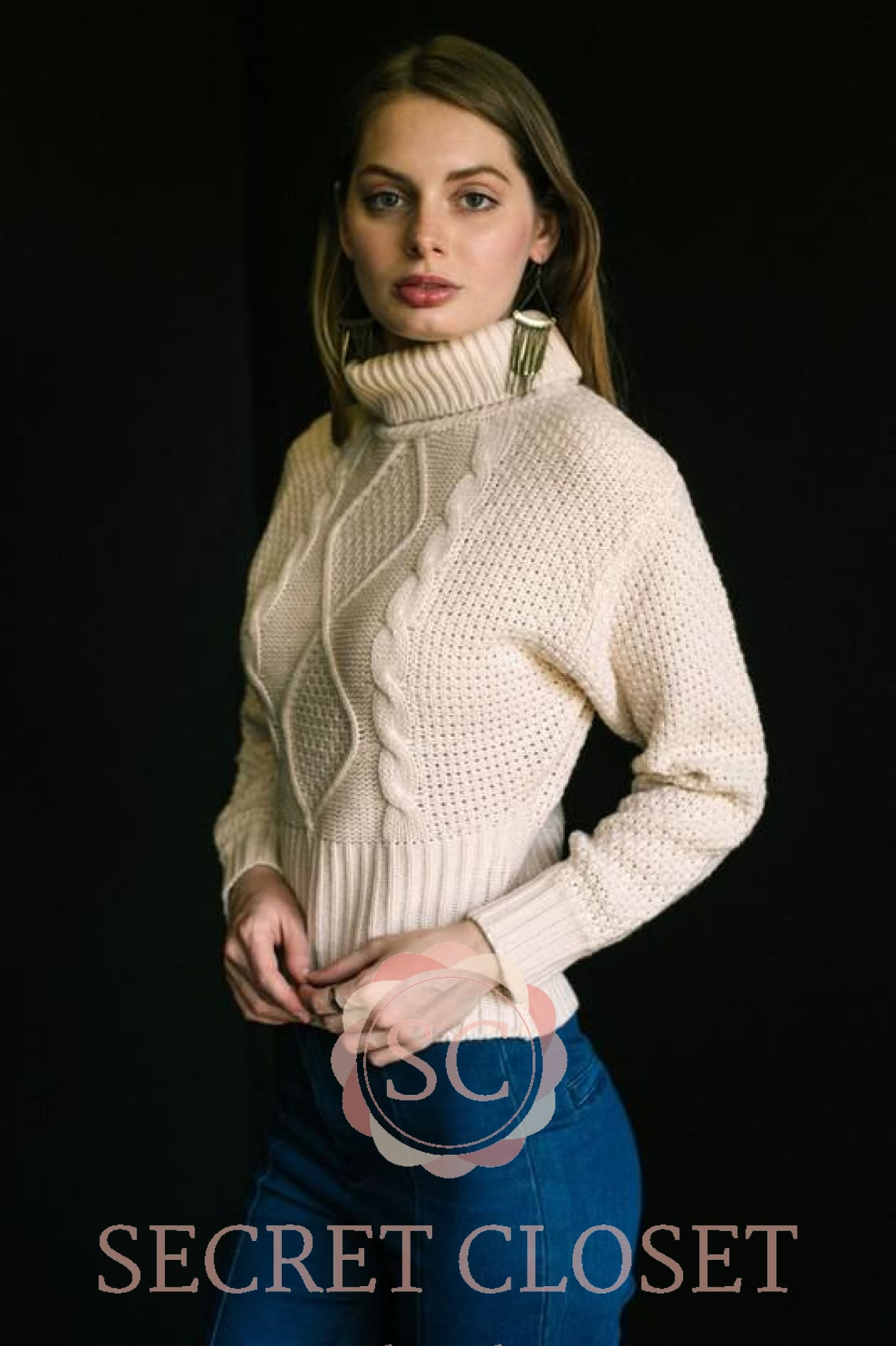Cable Knit Turtleneck Sweater Clothing