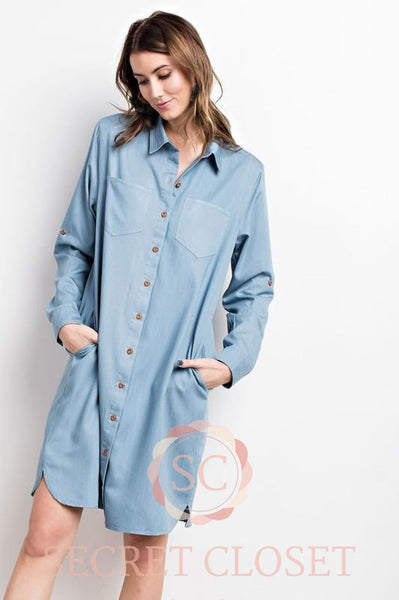 Chambray Shirt Dress Clothing