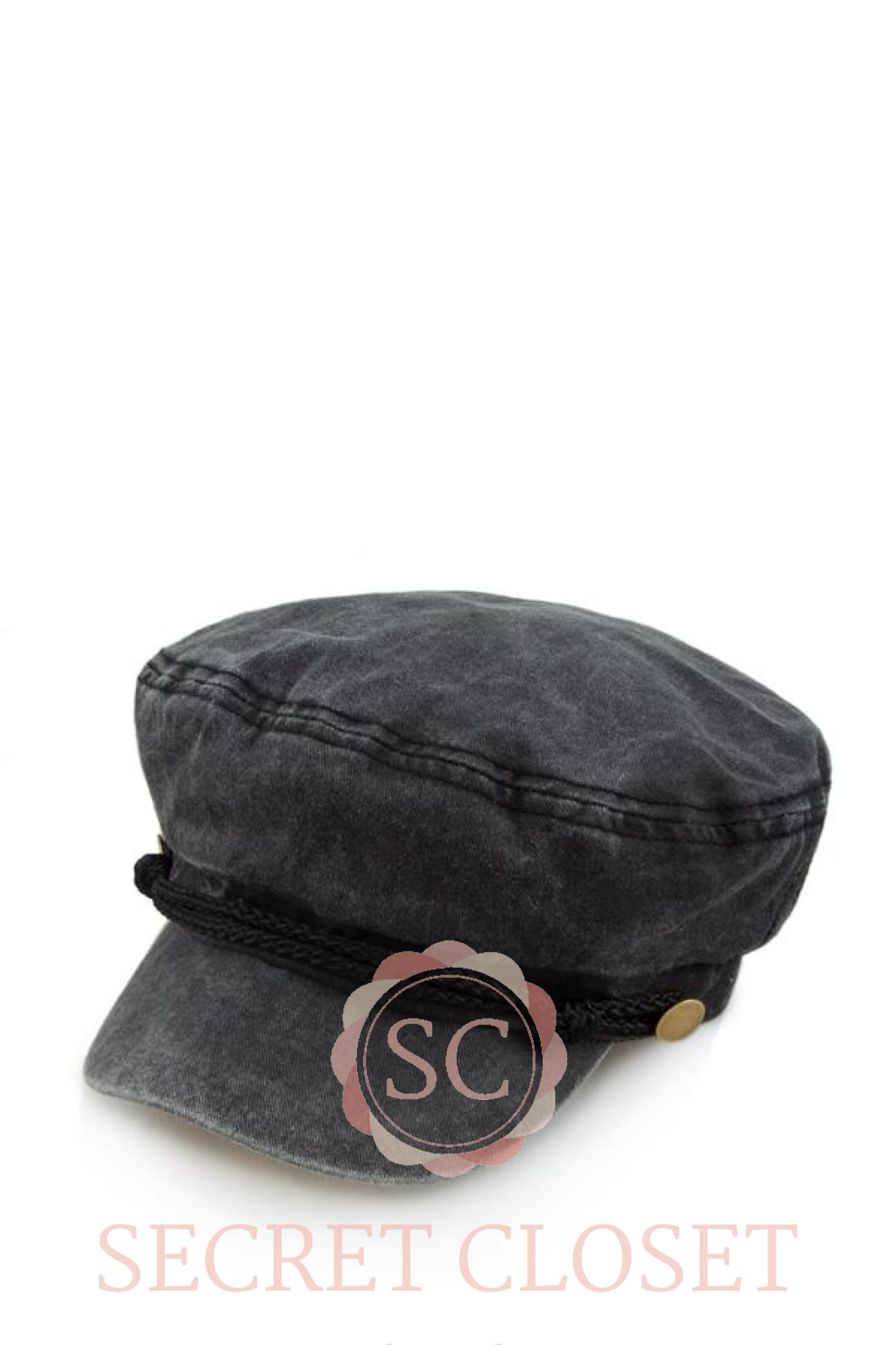 Charcoal Washed Denim Fisherman Cabbie Accessory