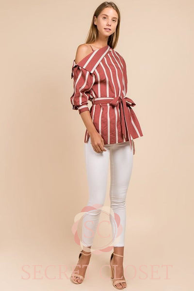Cold-Shoulder Stripe Top Clothing