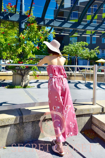 Coral Pink Flower Print Set Clothing