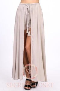 Drawstring Shorts With Maxi Skirt Overlay Clothing