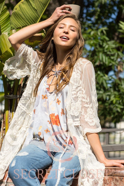 Floral Embroidered Sheer Lace Duster With Front Tie Detail Clothing