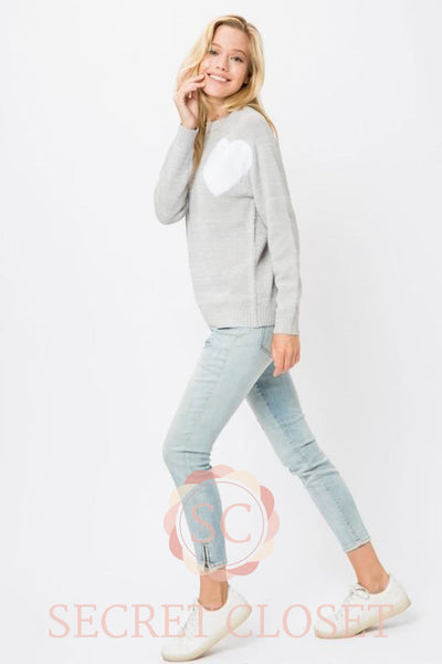 Grey Heart Knit Pullover Sweater Clothing
