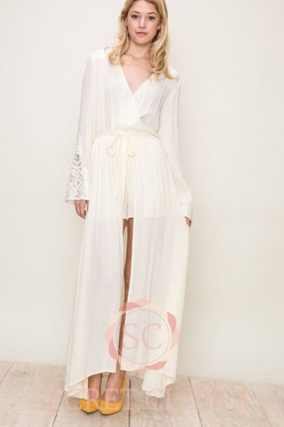 Long Sleeve Kimono Dress With Waist Tie Clothing