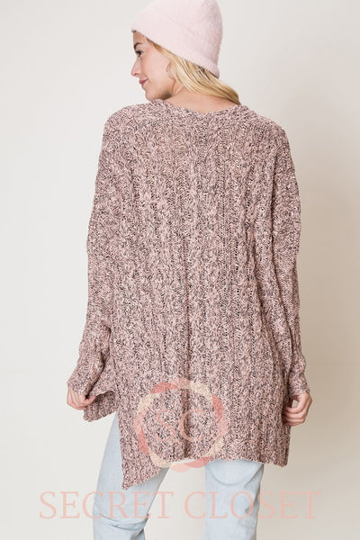 Marled Cable Knit Oversized Sweater Clothing