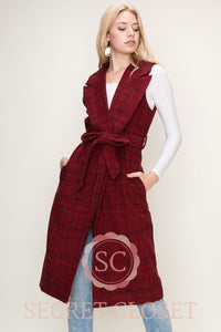 Maroon Plaid Coat Vest Clothing