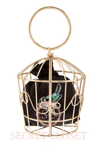 Metal Bird Cage Top Handle Bag