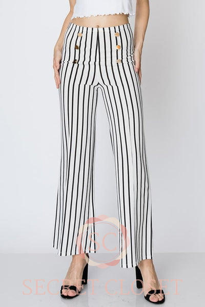 Military Style Stripe Pants Clothing