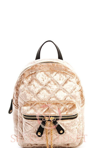 Natural Velvet Backpack Bag