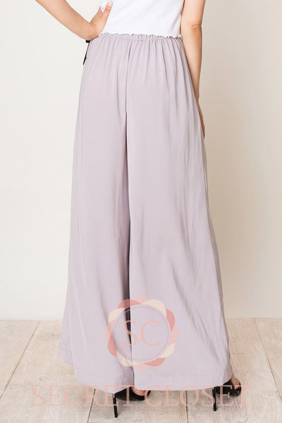 Pearl Grey Pants With Skirt Overlay Clothing