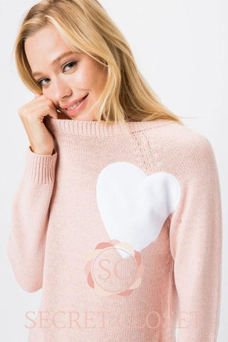 Pink Heart Knit Pullover Sweater Clothing