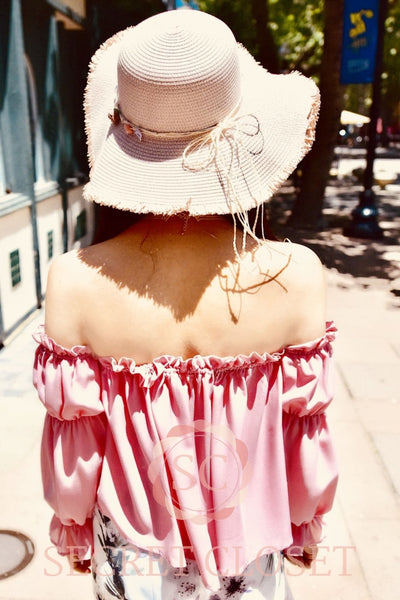 Pink Off-Shoulder Sweet Top Clothing