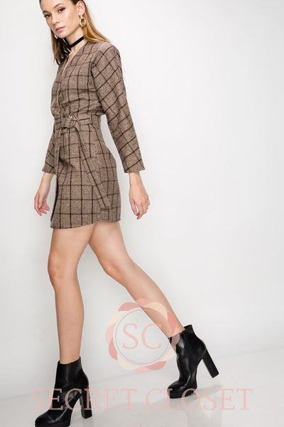 Plaid Structured Wrap Dress Clothing
