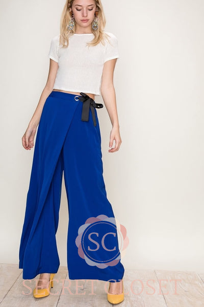 Royal Blue Pants With Skirt Overlay Clothing