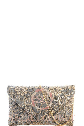 Velvet Clutch With Embroidery Bag
