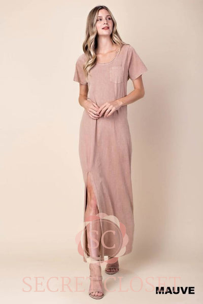 Washed Lace Up Jersey Dress Clothing