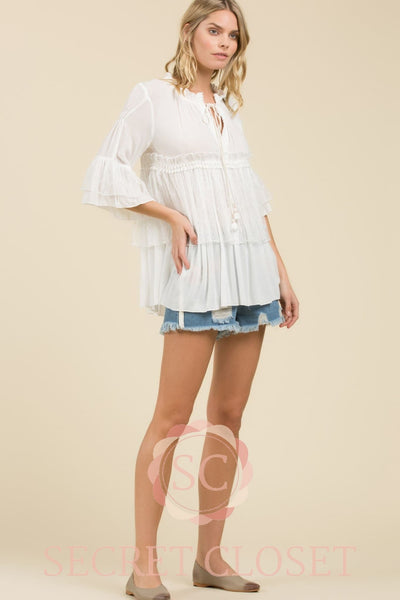 White Woven Gauze Top Clothing