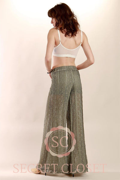 Wide-Leg See Through Lace Pant With Short Lining Underneath. Clothing