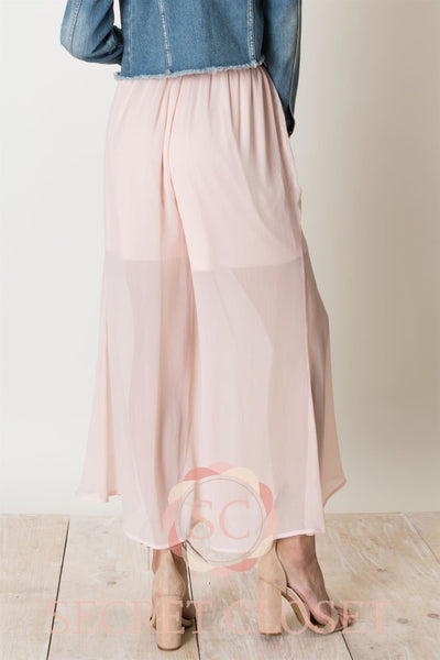 Wide Legged Drawstring Sheer Pants Clothing