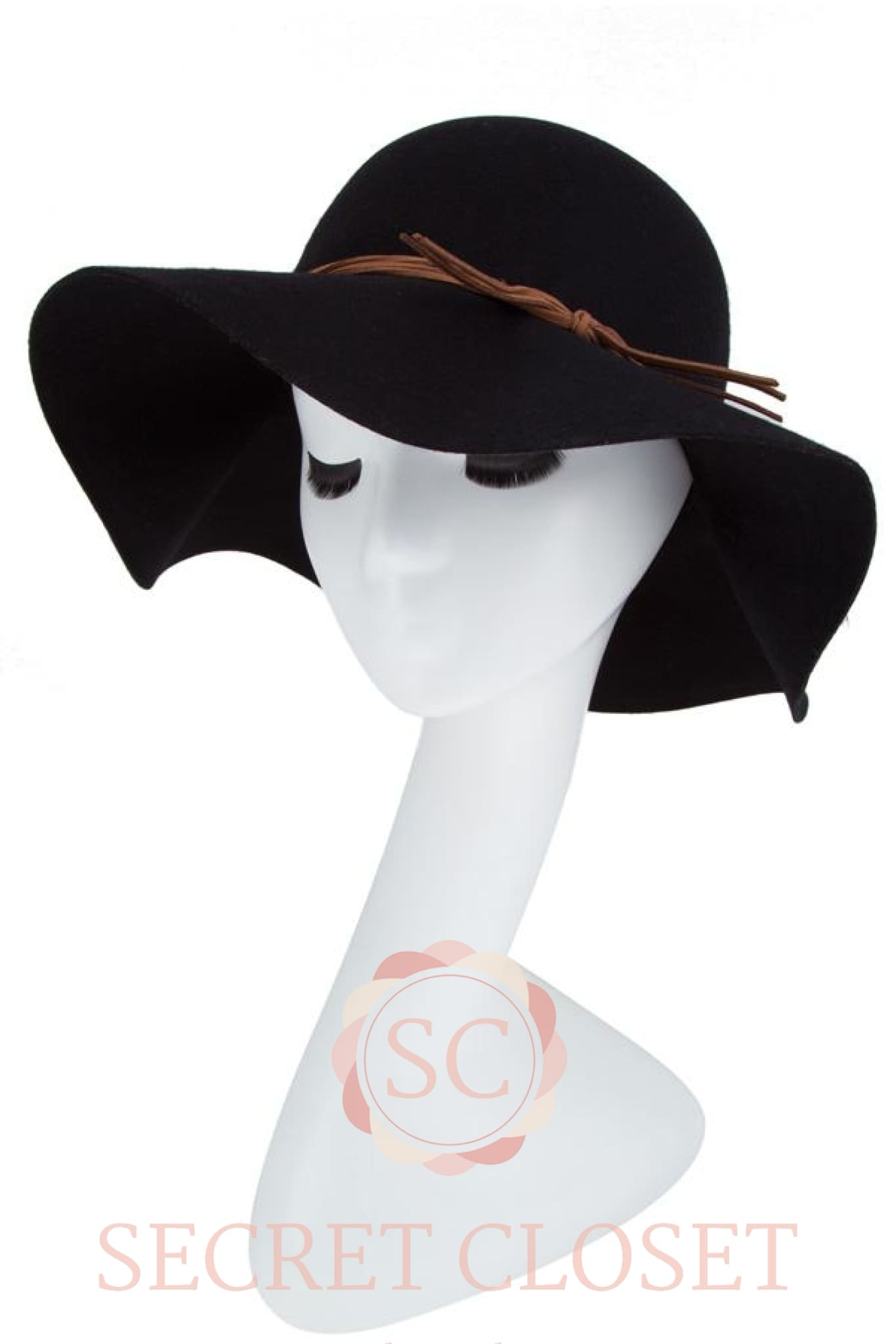 Wool Dress Hat With Faux Leather Strap Accent Accessory