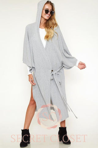 Wrap Kimono Sweater Coat With Hood Clothing