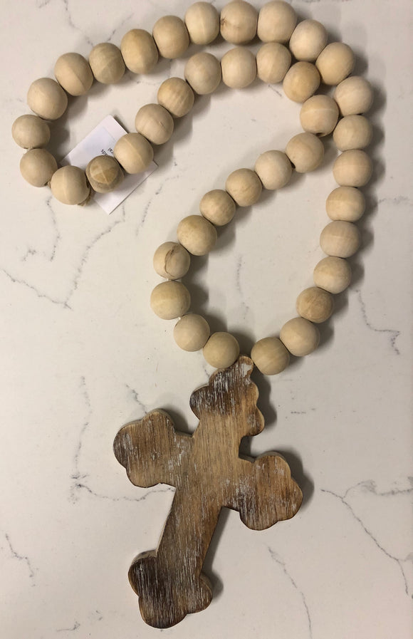 Wooden Beads Cross Natural